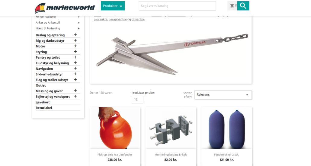 Screenshot af webshoppen hos Marineworld